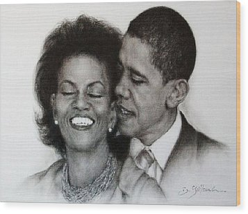 Michelle Et Barack Obama Wood Print by Guillaume Bruno