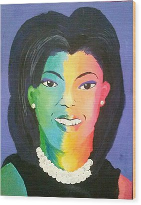 Michelle Obama Color Effect Wood Print by Kendya Battle