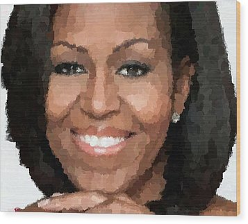 Michelle Obama Wood Print by Samuel Majcen