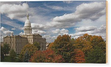Michgan Capitol - Autumn Wood Print by Larry Carr