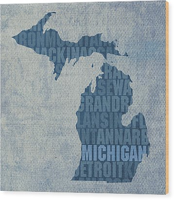 Michigan Great Lake State Word Art On Canvas Wood Print by Design Turnpike
