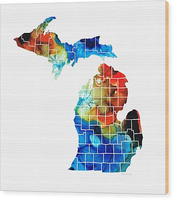 Michigan State Map - Counties By Sharon Cummings Wood Print by Sharon Cummings