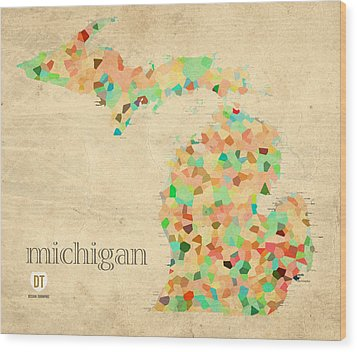 Michigan State Map Crystalized Counties On Worn Canvas By Design Turnpike Wood Print by Design Turnpike