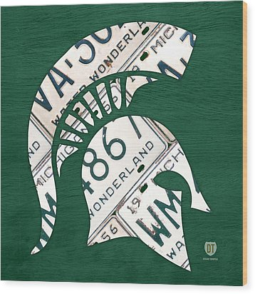 Michigan State Spartans Sports Retro Logo License Plate Fan Art Wood Print