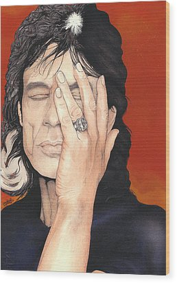 Mick Jagger Wood Print by Andrea Schiavetti