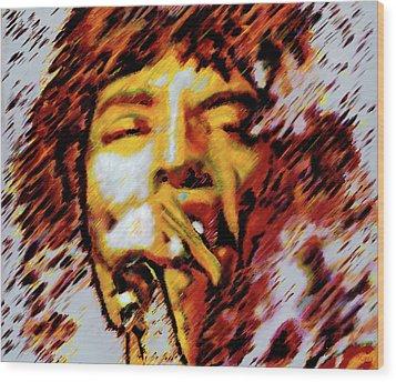 Mick Jagger Wood Print by Barry Novis