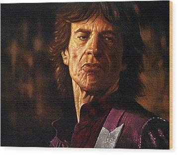 Mick Jagger Wood Print by Guy McIntosh