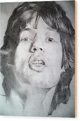 Mick Jagger - Large Wood Print by Robert Lance
