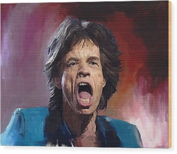 Mick Jagger Painting Wood Print by Robert Wheater
