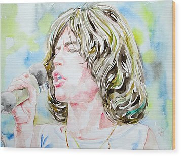 Mick Jagger Singing Watercolor Portrait Wood Print by Fabrizio Cassetta