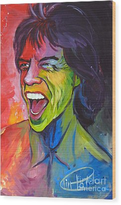 Mick Jagger Wood Print by Tim Patch