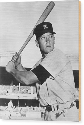 Mickey Mantle At-bat Wood Print