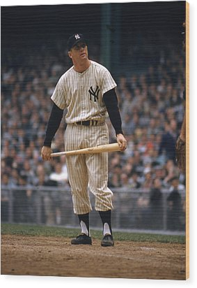 Mickey Mantle In Yankee Stadium Wood Print