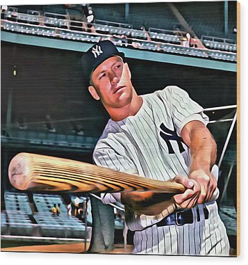 Mickey Mantle Painting Wood Print