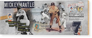 Mickey Mantle Panoramic Wood Print