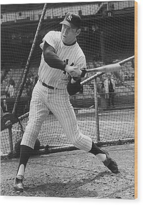 Mickey Mantle Poster Wood Print