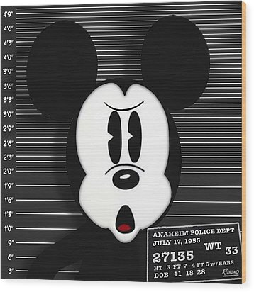 Mickey Mouse Disney Mug Shot Wood Print