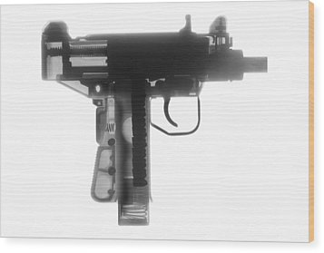 Micro Uzi X Ray Photograph Wood Print by Ray Gunz