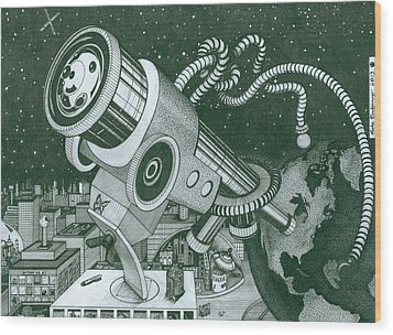 Microscope Or Telescope Wood Print by Richie Montgomery