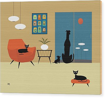 Mid Century Dogs And Cats Wood Print