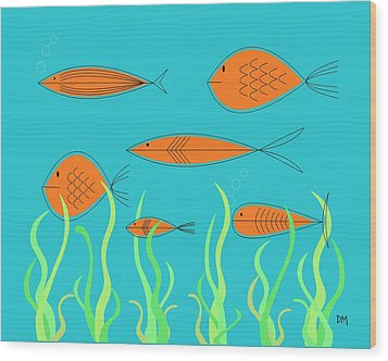 Mid Century Fish 2 Wood Print