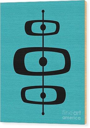 Mid Century Shapes 2 On Turquoise Wood Print
