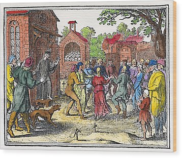 Middle Ages Dancing Mania Wood Print by Granger