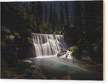 Middle Mccloud Falls Wood Print by Scott McGuire