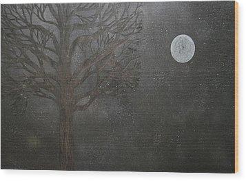 Midnight Calm Wood Print by Drew Shourd