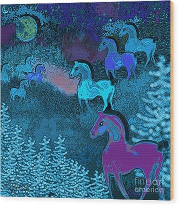 Midnight Horses Wood Print by Carol Jacobs
