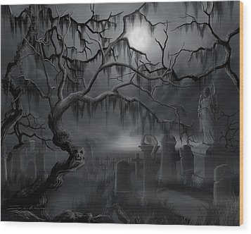 Midnight In The Graveyard  Wood Print by James Christopher Hill