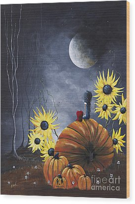 Midnight In The Pumpkin Patch By Shawna Erback Wood Print by Shawna Erback