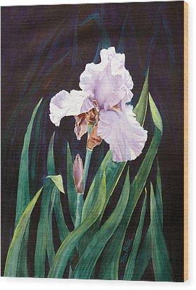 Wood Print featuring the painting Midnight Iris by Karen Mattson
