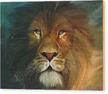 Lion Portrait Wood Print by James Shepherd