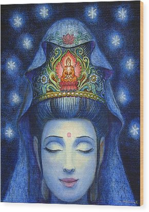 Wood Print featuring the painting Midnight Meditation Kuan Yin by Sue Halstenberg