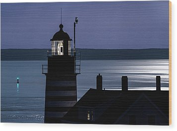 Wood Print featuring the photograph Midnight Moonlight On West Quoddy Head Lighthouse by Marty Saccone