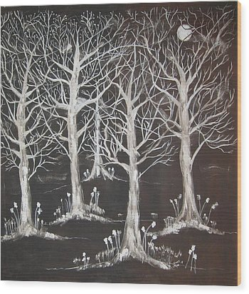 Midnight Mystery Forest Wood Print by Diane Pape