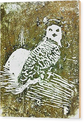 Wood Print featuring the painting Midnight Owl by Shabnam Nassir