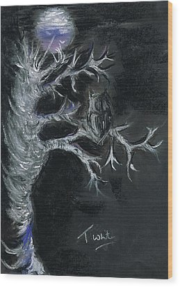 Wood Print featuring the drawing Midnight Owl by Teresa White