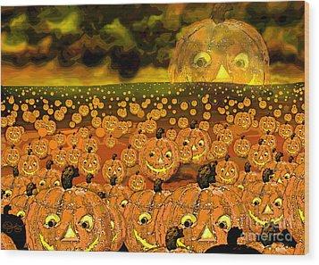 Midnight Pumpkin Patch Wood Print by Carol Jacobs