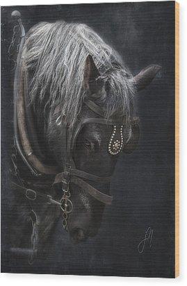 Midnight Silver Wood Print