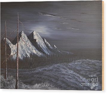 Wood Print featuring the painting Midnight by Stuart Engel