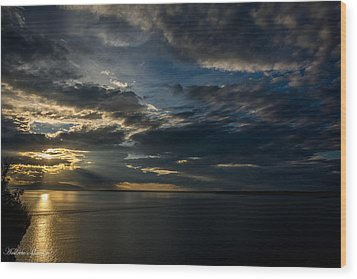Midnight Sun Over Cook Inlet Wood Print