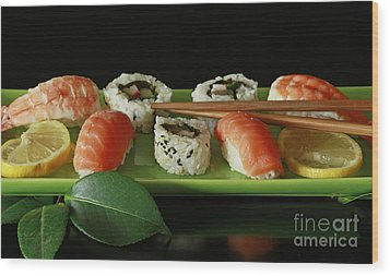 Midnight Sushi Indulgence Wood Print by Inspired Nature Photography Fine Art Photography