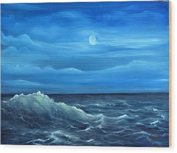 Midnight Wave Wood Print by Katia Aho