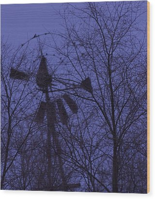 Midnight Windmill Wood Print by Todd Sherlock