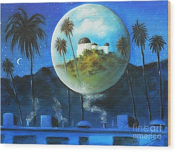 Wood Print featuring the painting Midnights Dream In Los Feliz by Sgn