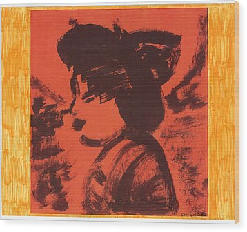 Wood Print featuring the painting Midori The Geisha by Don Koester