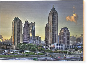 Midtown Atlanta Sunrise Wood Print by Reid Callaway