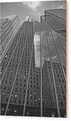 Midtown Reflections Wood Print by Mike Martin